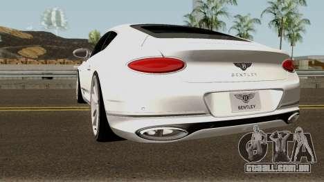 Bentley Continental GT First Edition 2018 para GTA San Andreas traseira esquerda vista