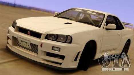 Nissan Skyline GT-R BNR34 Mid Night para GTA San Andreas