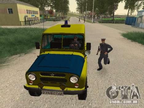 UAZ 469 Polícia para GTA San Andreas vista traseira