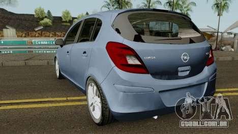Opel (Vauxhall) Corsa D Phase 2 V1 para GTA San Andreas traseira esquerda vista