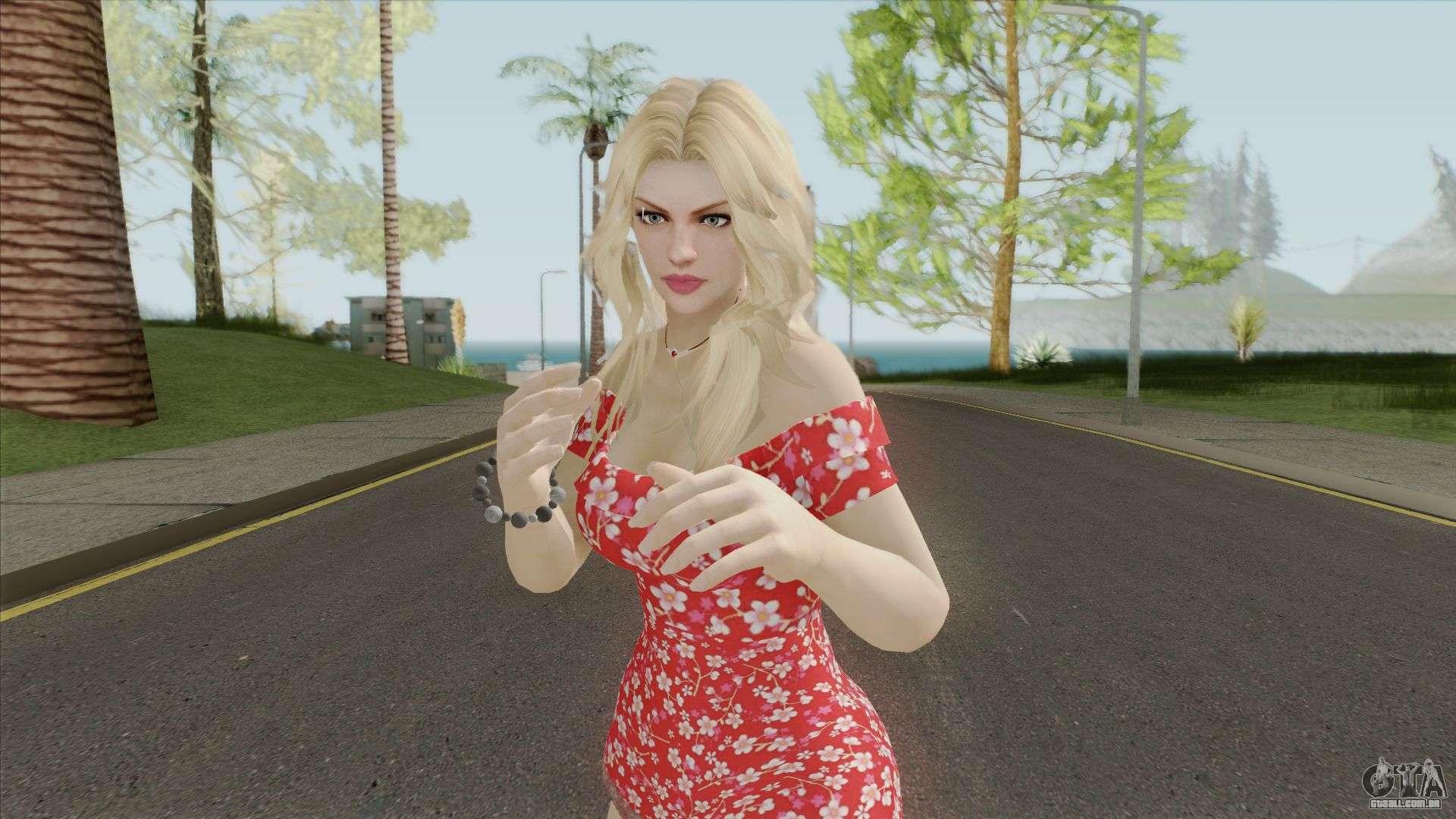 Rachel Casual Red Flower Dress Para Gta San Andreas