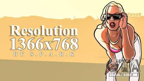1366 x 768 de Resolução de Correcção para GTA San Andreas